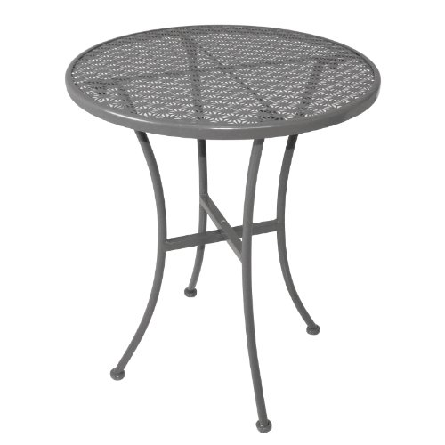 Bolero GG703 Grey Steel Patterned Round Bistro Table Restaurant Bar Cafe