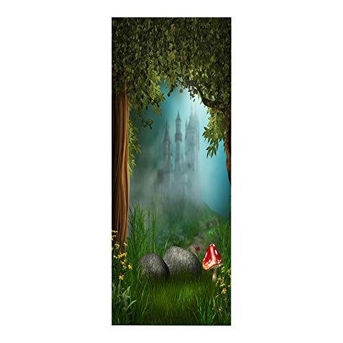 Door Wall Sticker Cartoon Castle 3D Door Stickers Removable Self-Adhesive Waterproof Children's Room Decoration Wallpaper