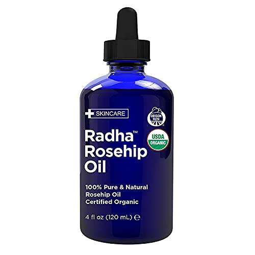 Radha Beauty USDA Certified Organic Rosehip Seed Oil, 100% Pure Cold Pressed - Great Carrier Oil for Moisturizing Face, Hair, Skin, & Nails - 4 fl oz