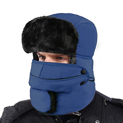 XIAOYAO Gorros de Aviador Impermeable Sombrero de Bombardero de Invierno Mantenerse Cálido Mientras Patinaje, Esquí u Otras Actividades al Aire Libre, (Azul Marino)