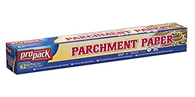 15 X 50 Propack Standard Non Stick Parchment Baking Paper Roll, Great For All Cooking, Baking Smoking, BBQing, Or Any Kitchen Prep, Pan Liners, 3 Rolls 2250 Total Sq. Feet