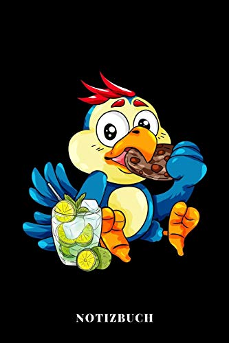 Notizbuch: Papagei mit Cookies und Mojito