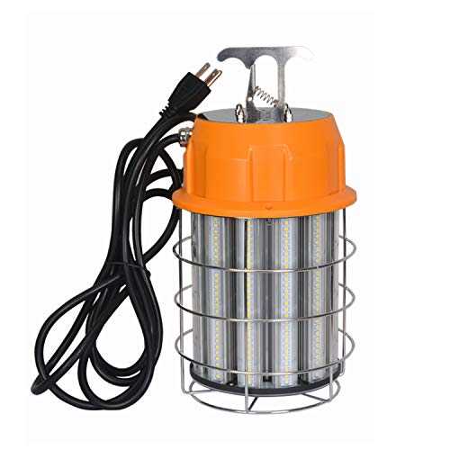 100W LED Temporary Work Light 5000K 13000Lm Outdoor Corded Portable Lights with Stainless Steel Guard & Hook for Mine Wharf Job Site Lighting,IP65 Dust Waterproof,Plug-n-Play