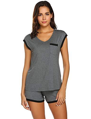 Schlafanzug Damen Kurz Pyjama Set Sommer Kurzarm Nachtwäsche Shorty Zweiteiliger Hausanzug Mit Schlafshorts & Shirt und Taschen