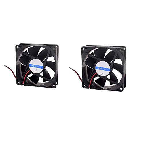 "LDEXIN 2pcs Computer Case Fan, 3-5/8"" Cooling Case Fan for Computer Cases Cooling, 2 Pin DC 24V 0.2A, Black"