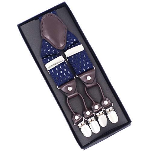 DYDONGWL Suspenders/Man's Suspenders Leer 6 clips Braces Mannelijke Vintage Casual Suspensie Stretchs Broek Band Vader/Man Gift 3.5 X 120cm