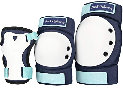 Dark Lightning Adult/Youth/Junior Knee Pads Elbow Pads Wrist Guards 3 in 1 Protective Gear, for Skateboard,Roller Skate,Inline,Cycling,MTB Bike,Scooter