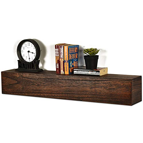 Spiretro Dimension Floating Shelves Wall Mounted Set of 2, Rustic Torched Wood -16.5 inch Ledge to Storage Organize and Display for Bedroom, Living Room, Bathroom, Kitchen, Office - Farmhouse Grey