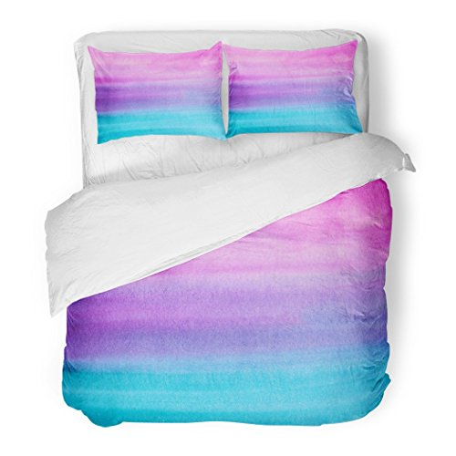 SanChic Duvet Cover Set Blue Ombre Abstract Watercolor Hand Pink Gradient Watercolour Decorative Bedding Set with 2 Pillow Cases Full/Queen Size