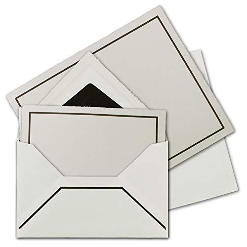 15 Sets Trauer-Papier mit gefütterten Brief-Umschlägen aus echtem Büttenpapier, 105 g/m², naturweiß Vellum-Oberfläche mit schwarzem Trauer-Rand, Größe B6-17,5 x 21,5 cm