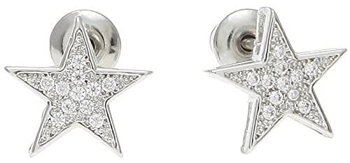 Hip-hop cinco puntas estrella pendientes cobre incrustaciones Zircon anti-alérgico pendientes hombres y mujeres joyería, simple estilo de moda pendientes para hombres y mujeres