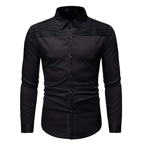 JiaMeng Neu Plissee Langarm Shirt Mode Revers Langarmshirts Freizeit Arbeitshemd für Herren Herbst Winter Einfarbig Gedruckt Hemd Tops