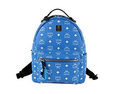 MCM Unisex Blue/White Coated Canvas Visetos Small Backpack MMK9SVE49HI001 from