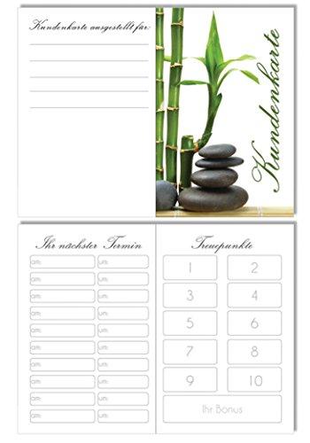 50 Kundenkarten 2in1 Terminkarte & Bestellkarte in einem Bambus Kosmetik Beauty Spa Massage