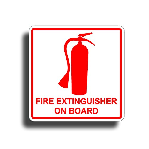 Fire Extinguisher On Board Sticker for Boat RV Camper Truck Semi Auto Vehicle Die Cut Vinyl Decals Safe Safety