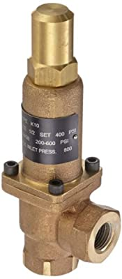 "Cash Valve 8342-0400 Bronze Back Pressure Relief Valve, Preset Setting 400 PSI, 1/2"" NPT Female by Tyco Valves & Controls"