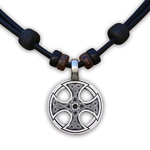 HANA LIMA ® Halskette Lederhalskette Lederkette Wikinger Herren Damen Bikerschmuck Odin Thor