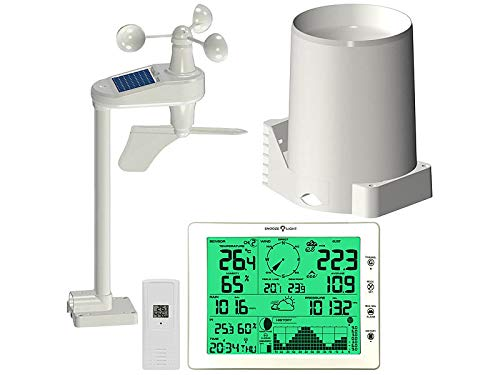 infactory Wettercenter: Wetterstation-Set mit XXL-Display, Außensensor & Station, PC-Anschluss (Wetterstation mit Windmesser)