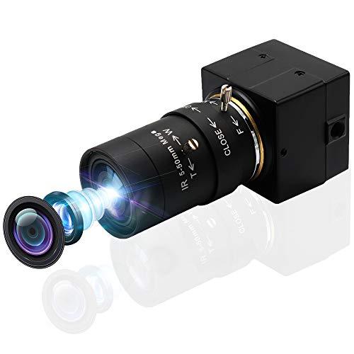 SVPRO Cámara web 5-50 mm, lente varifocal 8 MP, zoom manual, USB, cámara de alta definición, 2448P HD, mini cámara Sony IMX179, USB con cámara, para Android, Windows Linux, Mac OS, Plug & Play UVC