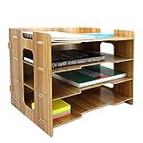 Wooden Desk Organiser   A4 Document Desk Organiser   Wooden Filing Trays   Office Stationery Storage   Letter Rack   4 Dividers   Pukkr
