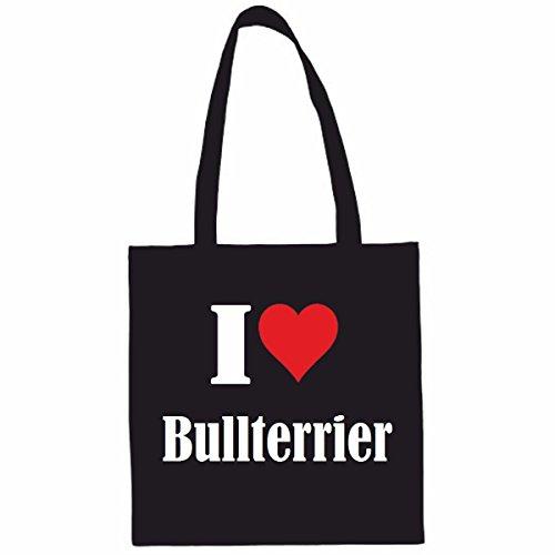 Tasche I Love Bullterrier Größe 38x42 Farbe Schwarz Druck Weiss