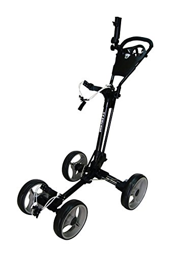 Qwik-Fold 4 Wheel Folding Push Pull Golf CART - Foot Brake - ONE Second to Open & Close! (Black/Charcoal)