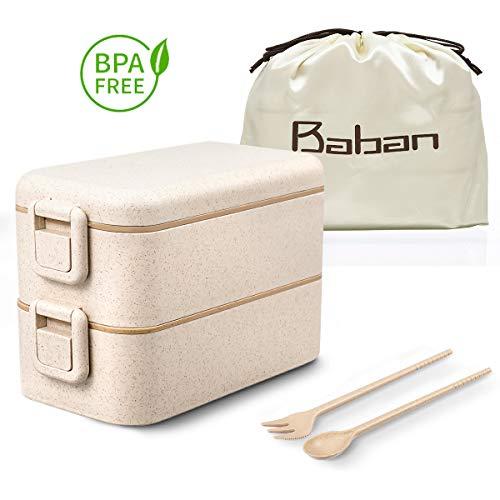 Baban Lunch Box Sécurité Boîte Bento Japonaise Premium avec 2 Couverts Solides Avec boucle 800ml Hermétique Passe Au Micro-Ondes Et Au Lave-Vaisselle sans BPA Marque Déposée