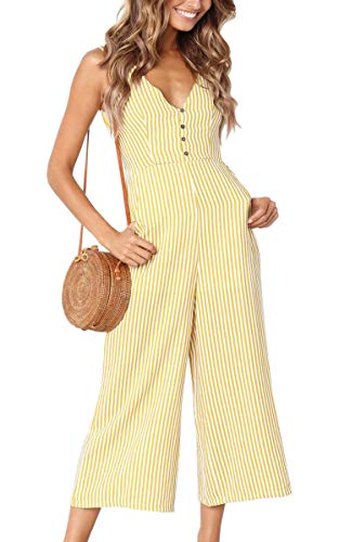 ECOWISH Womens Jumpsuits Casual Button Deep V Neck Sleeveless High Waist Wide Leg Jumpsuit Rompers with Pockets 098 Yellow Medium
