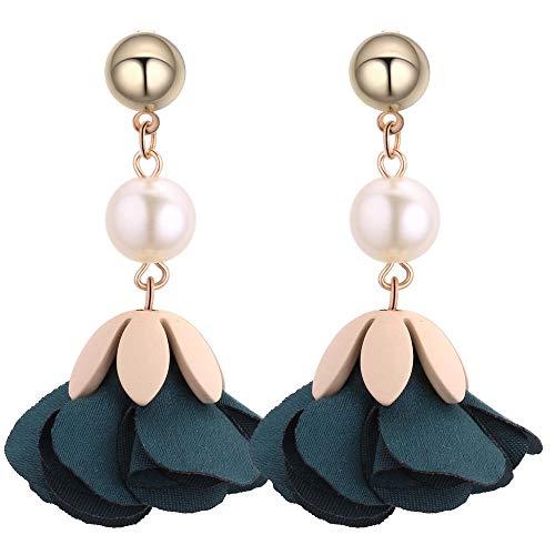 Moda venta caliente todo-fósforo tela popular pétalos de flores grandes perla pendientes redondos de metal pendientes-verde