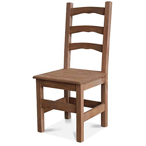 Kuechenstuhl (HSL-01) Holzstuhl Esszimmerstuhl Stuhl mit Lehne Kiefer massiv vollholz zusammengebaut Verschiedene Farbvarianten Neu (Eiche lasiert)