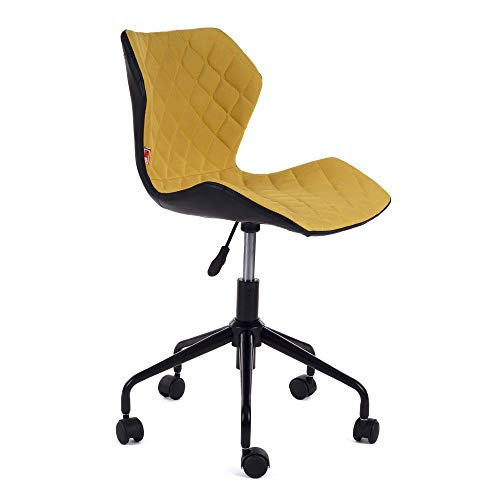 MY SIT Chaise de Bureau Siege de Bureau Tabouret Fauteuil Hauteur réglable Similicuir rembourré avec Rouleau Neuf Design en Noir/Jaune