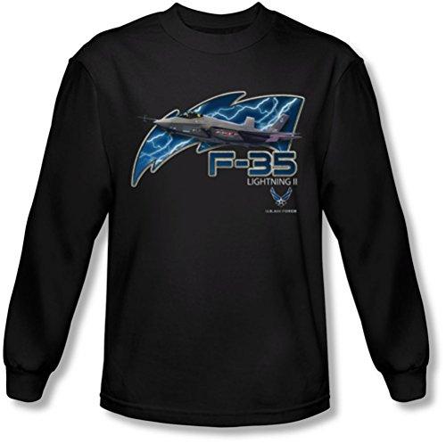 Air Force - - F35 T-shirt à manches longues pour homme, Large, Black