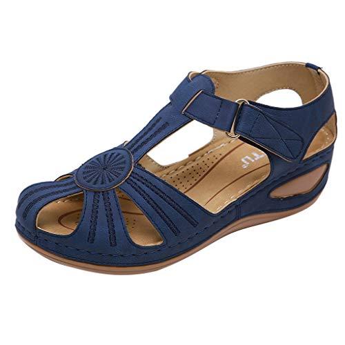 Sandals mit Klettverschluss für Frauen/Dorical Damen Freizeitschuhe Sommer Knöchel Strandschuhe Bequeme rutschfest Outdoorschuhe Elegant Einfach Sommerschuhe Roman Sandalen Größe 36-44(Blau,39)