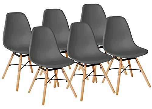 Kingpower 2/4/6/8 Set Stühle Esszimmerstühle Küche Stuhl 4 Farben Retro, Auswahl:6 Stühle - dunkelgrau