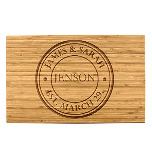 Personalized Bamboo Cutting Board (11 x 17' Single Tone, Jenson Design) | Engraveable Charcuterie Platter | Ideal Gift for...