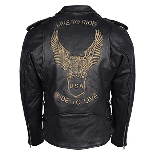 Men's Eagle Embossed Live To Ride - Ride To Live Classic Black Leather Motorcycle Biker Jacket (Large, Gold)