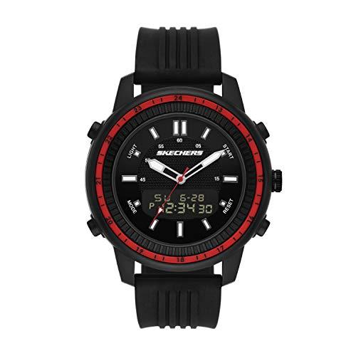 Skechers Men's Wilkie Quartz Watch with Silicone Strap, Black, 24 (Model: SR5154)