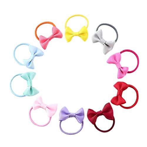 Elenxs Bandas 10pcs del Bowknot elástico de Goma Pelo de Las Muchachas de los niños del Anillo del Lazo del Pelo del Arco de la Cuerda Headwear