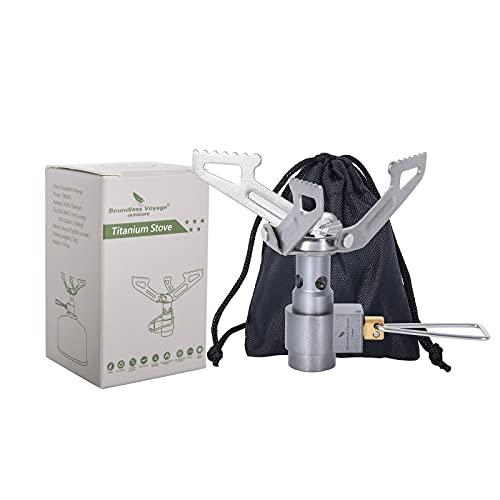iBasingo Fornello a gas Camp da campeggio, portatile, in lega di titanio, 2700 W, torcia ultraleggera, da cucina, da 26 g, Ti9009O