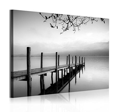 DekoArte 313 - Cuadros Modernos Impresión de Imagen Artística Digitalizada | Lienzo Decorativo Para Salón o Dormitorio | Estilo Zen Blanco y Negro con Paisaje de Agua Embarcadero | 1 Pieza 120x80cm