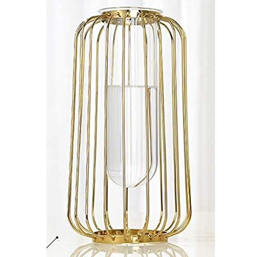 HQQSC Vasen Tabelle Porch TV-Schrank Mechanism Glaskunst Gut Antislip Effekt Weiche Dekoration Metall + Glas Blume Vase Blume (Size : Large)