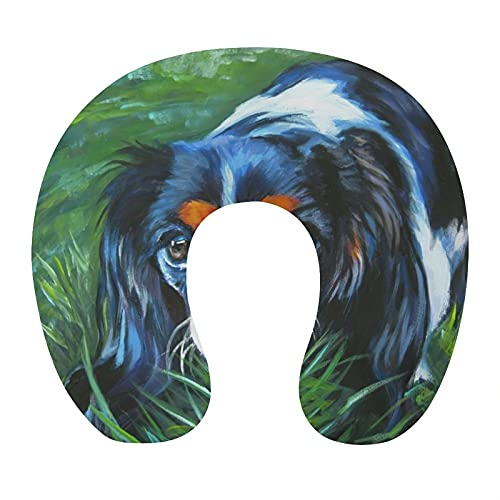 KASABULL Almohada Viaje,Cavalier King Charles Spaniel Perro Tricolor L A Shepard Puppy Canine Pup,Espuma de Memoria cojín de Cuello,Almohadas de Acampada,Soporte de Cuello para Viaje Coche