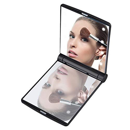 LASISZ Pliable Miroir LED Portable Compact Pocket 8 Lumières LED Composent Miroir Illuminé Cosmétique Outils de Beauté de Table, Noir