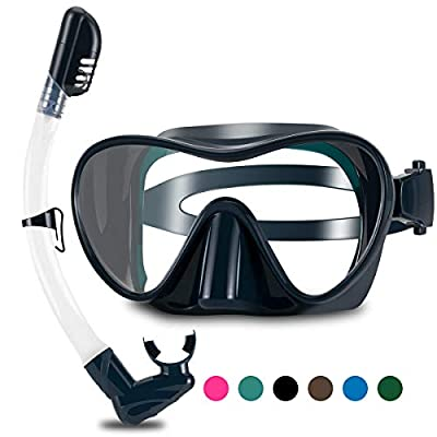 WSTOO 2020 Newest Dry Snorkel Set,Anti Fog Snorkel Mask,180 Degree Panoramic View Scuba Diving Mask,Snorkeling Gear for Adult&Youth (Dark Green)