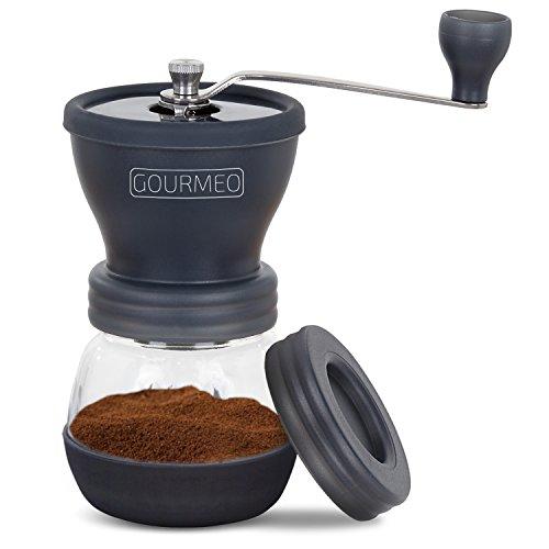 GOURMEO® Handkaffeemühle mit Keramikmahlwerk im japanischen Design | Espresso-Mühle, manuelle Kaffeemühle, von Hand Kaffee mahlen, Coffee Grinder