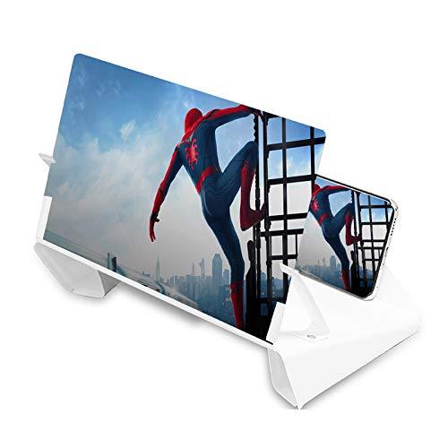 3D Handydisplaylupe, 12 Zoll (30,5 cm), 2 bis 5 mal Zoom, für alle Smartphones, klappbare Lederoberfläche für Filmverstärker (weiß)