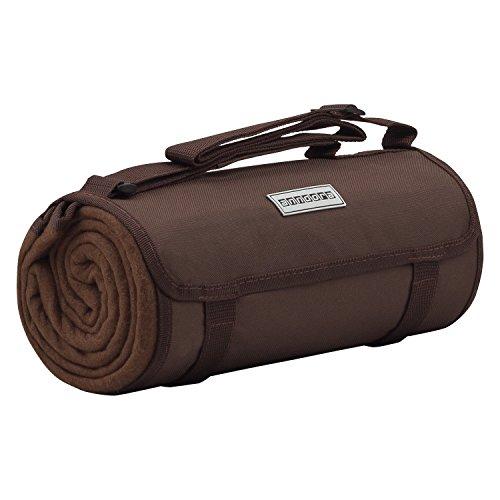 anndora Fleece Picknickdecke wasserdicht 125x150 cm - braun gestreift