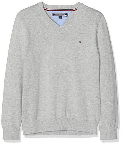 Tommy Hilfiger Jungen Boys Basic V-Neck Sweater Pullover, Grau (Grey Heather 004), 98 (Herstellergröße: 3)