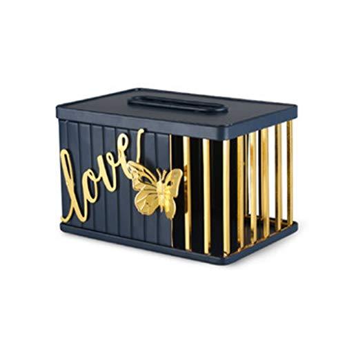 Boîte à mouchoirs en métal pour le visage - Pour salle de bain, comptoirs, commodes de chambre à coucher, bureaux et décoration de salon - Couleur : bleu