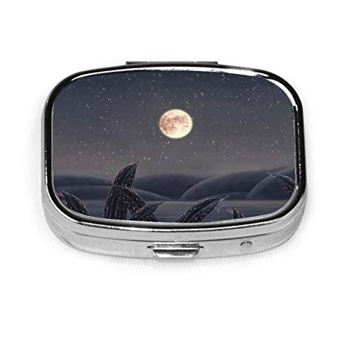 Painting of The Moon with Night Sea I Mens Pocket Pill Box Pill Box Tablet Holder Wallet Organizer Case for Pocket Or Purse